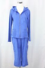 Zenergy by Chicos Size 1 Womens 8-10 Blue Jacket & Capri Pant Set E2