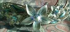 Stunning Large Filigree Silver/Blue Crystal Flower Hair Slide/Clip/Barrette