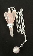 Rose Quartz Angel Pendulum, wand, pendant, crystal healing Reiki therapy dowsing