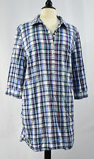 GAP Women's ½ Button Cotton Shirtdress Dress XXL 2XL Blue Plaid