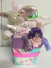 My First Easter Basket Infant Girl Pink Bunny Plus Flower Cloth Headband Baby
