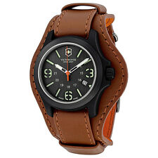 New Victorinox 241593 Swiss Army Black Dial/Date Brown Leather Cuff Men's Watch