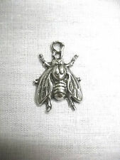 NEW THE FLY FULL BODY DETAILED INSECT USA CAST PEWTER PENDANT ADJ CORD NECKLACE