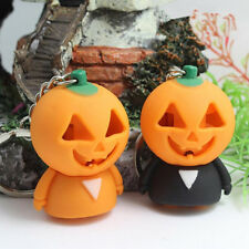 1PC Creative Halloween Cartoon Pumpkin Light Up LED Sound Keyring Keychain Gift