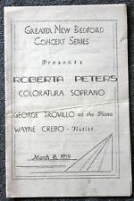 1959 ROBERTA PETERS Opera SOPRANO Program NEW BEDFORD Classical Music COLORATURA