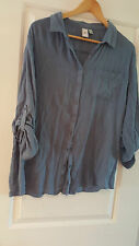 SUSINA Slouchy, Blue ButtonUp Shirt Roll-up 3/4 to Long Sleeve Sz L Nordstrom's