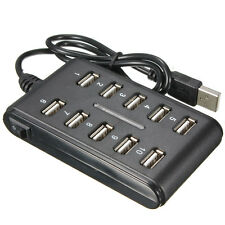 Black 10-Port USB 2.0 High Speed Hub Power Adapter Extension Cable For Laptop PC