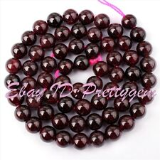6MM NATURAL ROUND GARNET GENSTONE SPACER BEADS FOR JEWELRY MAKING STRANDS 15""