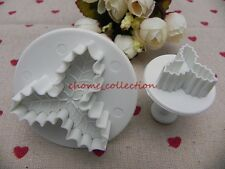 One Set Xmas Holly Leaf Plunger Baking Cookie Pastry Decorating Cake Mold Cutter