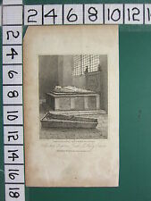 1817 DATED ANTIQUE LONDON PRINT ~ BISHOP ANDREWS TOMB ST MARY