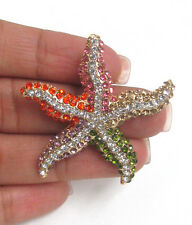 STARFISH BROOCH Multi Crystal Starfish Nautical Theme Sealife Beach Brooch Pin