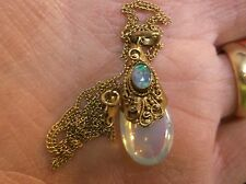 PRETTY VTG ANTIQUE GOLD WASHED STERLING SILVER & OPAL ETRUSCAN PENDANT, GF CHAIN