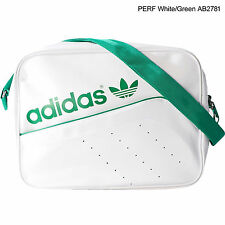 MENS ORIGINALS DULL WHITE GREEN LOGO ADIDAS AIRLINER SPORTS SHOULDER SCHOOL BAG