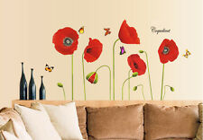 Red Poppy Flower Bedroom Butterfly Wall Stickers / Wall Decals/ Wall Art