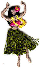 HULA GIRL w/FRINGE SKIRT & LEI-Iron On Embroidered Applique Patch/Tropical,Beach