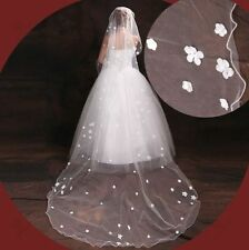 414v Romantic 1t Cathedral Length Lt. Ivory Applique Flower Bridal Wedding Veil