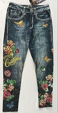 Bejeweled Leggings Jeggings Susan Fixel Butterfly Roses THIN 009M Size M