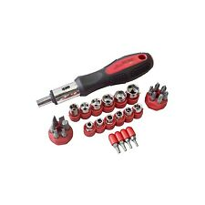 AM TECH 29pc RATCHET SCREWDRIVER SOCKET & BIT SET SLOTTED POZI PHILLIPS HEX TORX