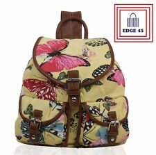 Ladies Beige Butterfly Print Rucksack Backpack Travel School Shoulder Bag