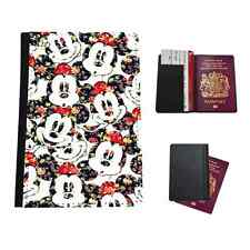 MICKEY FLORAL PATTERN  FAUX LEATHER PASSPORT HOLDER TRAVEL FLIP COVER CASE