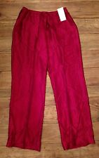 August Silk Red Silk Pajama Pants NWT Size L
