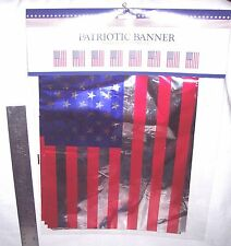 AMERICAN FLAG  BANNER - GARLAND-SPARKLING  RED -SILVER- BLUE: 12 FT. = 8 FLAGS