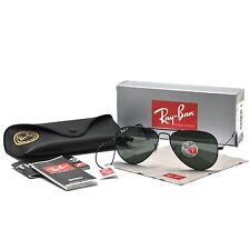 RAY-BAN MEN'S SMALL POLARIZED AVIATOR SUNGLASSES G-15 LENS RB3025 002/58 BLACK