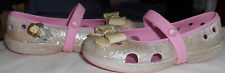 Girls 10 Crocs sparkle, bow on front, Mary Jane shoes