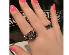 New Fashion Hip-Hop Punk Style Metal Anti-Silver Hollow Pattern Ring 2 pcs Set