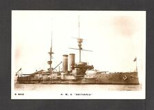 REAL-PHOTO POSTCARD:  HMS BRITANNIA - BRITISH NAVY BATTLESHIP - SUNK IN WW-1