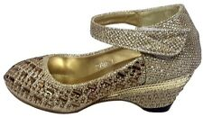 GIRLS DIAMANTE SPARKLY SPECIAL OCCASSION LOW HEEL PRINCESS SHOES