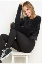 Brandy Melville EXTREMELY SOFT! Black Fuzzy Crop Sweater Long Sleeve Top Nwt