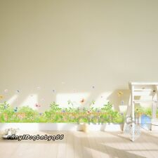 Flower Grass Vine Butterfly Wall Border decal Removable home sticker kids decor