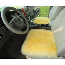 1pc 18''x18'' Genuine Sheepskin Long Wool Car Seat Covers Chair Cusion Beige