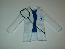 Ken Doll Clothes White Dr. Jacket Attached Blue Shirt Doctor Coat Stethoscope