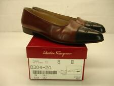 8 B M SALVATORE FERRAGAMO Tanner black & tan ballet flat shoes pump loafer heels