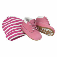 Timberland Crib Booties And Hat Set Infant Toddlers Baby Pink/White Size 3