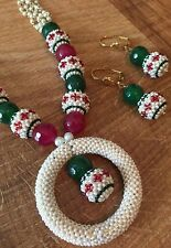 Indian Pakistani Ethnic Bollywood Ruby Green Pearl White Moti Necklace Pendant