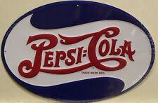 PEPSI COLA Metal Sign script logo oval die cut embossed vintage style logo m-654