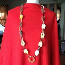 Exquisite handmade Buffalo Horn long link necklace with silk pouch