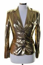 Moschino Womens Blazer Jacket Size 8 Small Gold Nylon Spandex