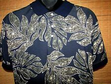 M V CLOTHING XL Mens Short Sleeve Cotton Blend Black Floral Hawaiian Polo Shirt