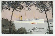"[63550] OLD POSTCARD STEAMER ""KEEWATIN"" in ST. MARY'S RIVER"