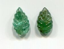2 Matching Carved Leaf shaped Emeralds for Earrings #A1 - Emerald Gemstone 11x6