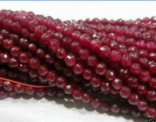 AAA+++ Natural 6mm Faceted Brazil Red Ruby Gemstones Garnet Loose Beads 15""