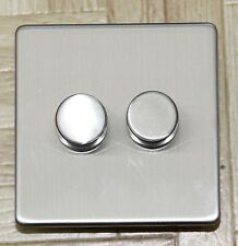 Trailing Edge Screwless Brushed chrome LED dimmer switch 2 gang 2 way Push onoff