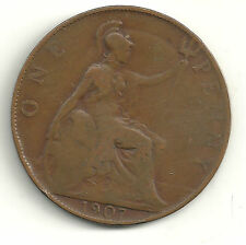Nice 1907 Large Penny-Great Britain -Reverse Head Profile On Obverse-Jn056