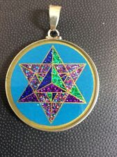 "Necklace MerKaBa 3D Star On Turquoise Gemstone 1.5"" Sterling Silver Mystic #gift"