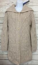 NEW Aran Mor Beige Cable Knit Merino Wool Irish Long Cardigan Sweater Sz Small