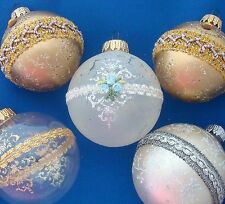5 decorated glass ball Christmas Ornaments gold clear frosted West Germany